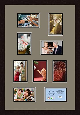 Art to Frames Double-Multimat-239-771//89-FRBW26061 Collage Frame Photo Mat Double Mat with 8-4x6 and 1-3.5x5 Openings and Espresso Frame