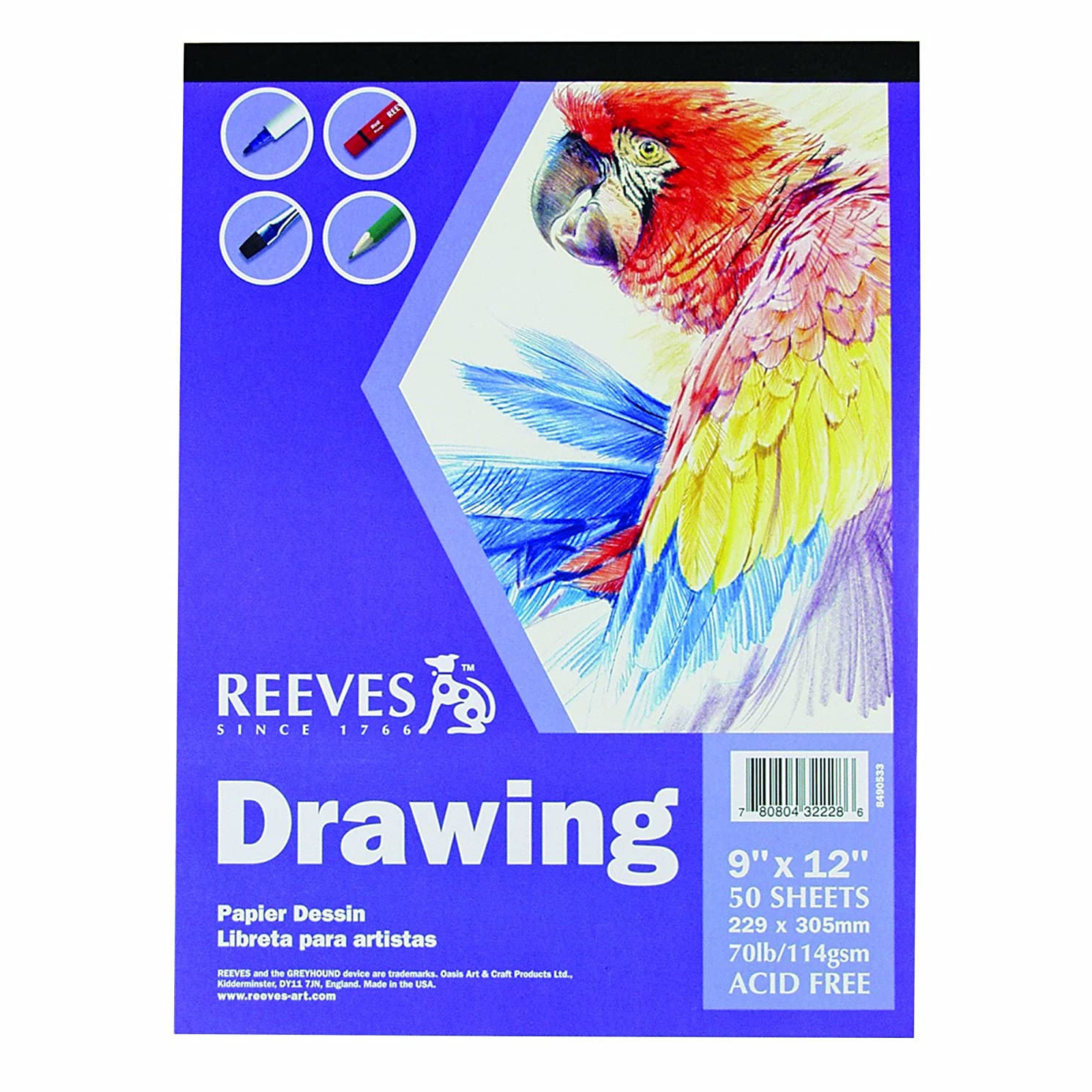 Winsor & Newton Reeves 9-Inch by 12-Inch Drawing Paper Pad, 50-Sheet