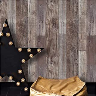 YT531 Wood Texture Wallpaper Rolls, Slategray/Brown Faux Wood Plank Wallpaper Murals Home Kitchen Bedroom Living Room Decoration 20.8
