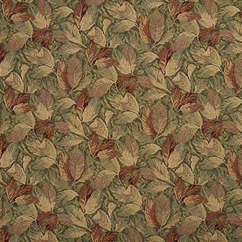 Essentials Dark Red Beige Upholstery Fabric Burgundy Leaf