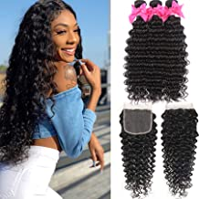 9A Brazilian Deep Wave 3 Bundles Human Hair with 4X4 Free Part Lace Closure Unprocessed Virgin Deep Wave Bundles Hair Natural Color(24 26 28+20,lace closure)
