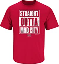 Smack Apparel Wisconsin Football Fans. Straight Outta Mad City. Red T-Shirt (Sm-5X)