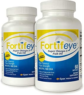 Fortifeye Vitamins Super Omega-3 Fish Oil, Lemon Flavor, Natural Triglyceride, 900 EPA / 600 DHA Per Serv. - 60 Day, 120 S...