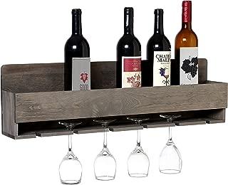 MyGift Barnwood Gray Wall Mounted Wine Bottle and 6 Stem Glasses Display Rack