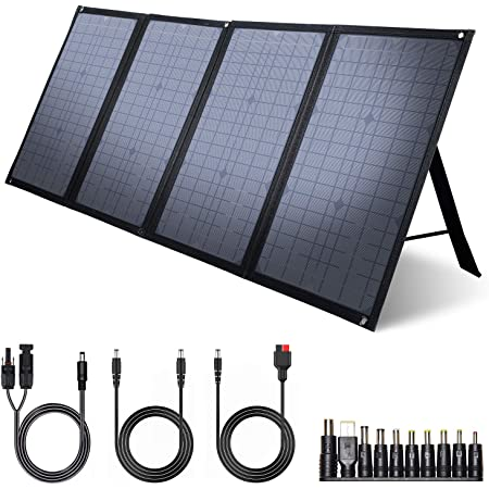 iClever 100W Foldable Solar Panel Charger for Jackery/EF ECOFLOW/ROCKPALS Portable Power Station Generator, Quick Charge 3.0, 45W Type-C Power Delivery for Outdoor Camping Phone Hiking Emergency