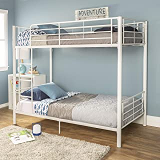 WE Furniture Modern Metal Pipe Twin Bunk Kids Bed Bedroom, White