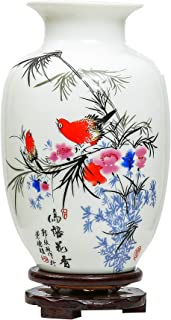 ufengke Chinese White Ceramic Vase With Stand, Porcelain Gift Vase, Bird And Flower Painting, For Home Decoration
