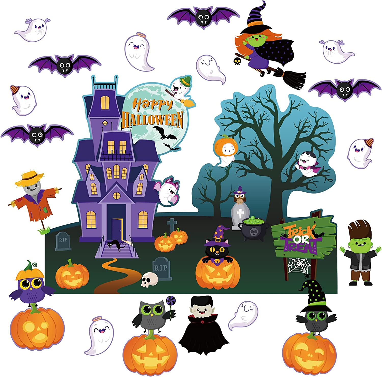 HalloweenClassroomBulletinBoardDecorations Halloween Cutouts Paper TrickTreat Pumpkin OwlCatBat WitchGhost Castle Decors for Holiday School Classroom Bulletin Board Borders Decoration