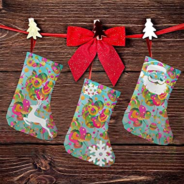 """MIDRIFGR Color Connector 7.5"""" Personalized Cute Small Christmas Stockings 3 Pcs with Snowflake Santa Reindeer Xmas Decora"""