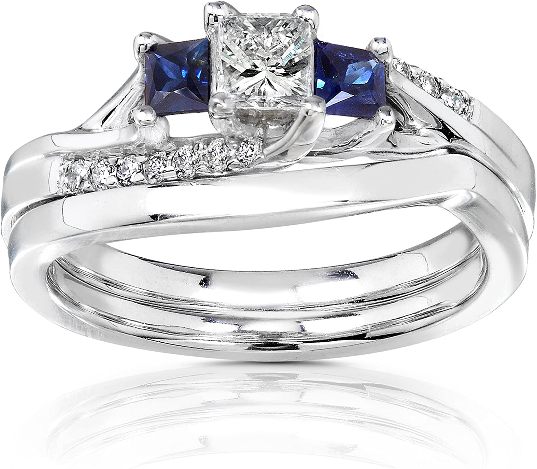 Kobelli Diamond and Sapphire Bridal Set 3/5 Carat (ctw) in 14K White Gold