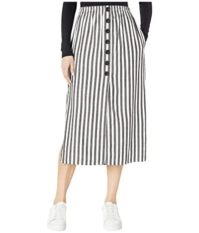 Cupcakes and Cashmere Sandrine High-Waist Yarn-Dyed Striped Button-Down Midi Skirt (Black) Women