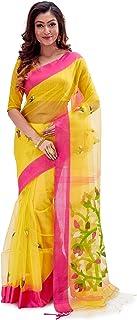 SareesofBengal Women's Handloom Dhakai Muslin Jamdani Silk Saree Yellow