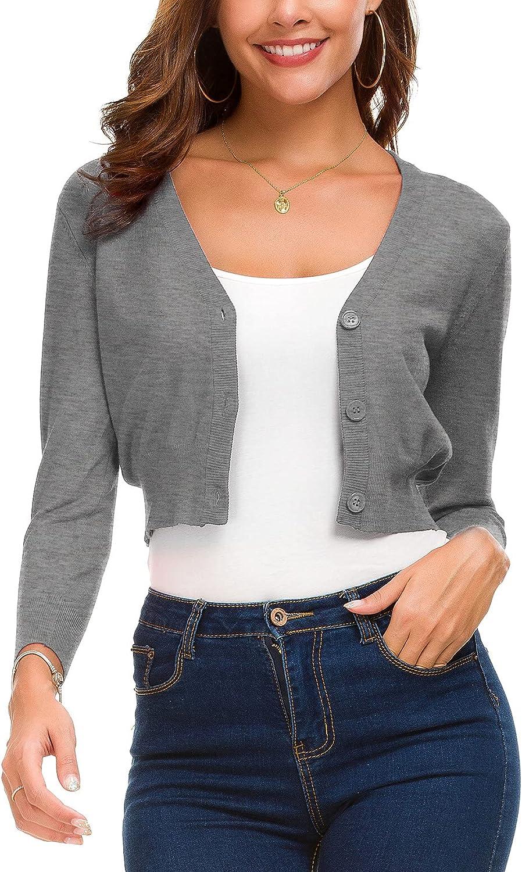 Women's Trendy Bolero Shrug Cropped Cardigan 3/4 Sleeve Open Front Short Cardigans