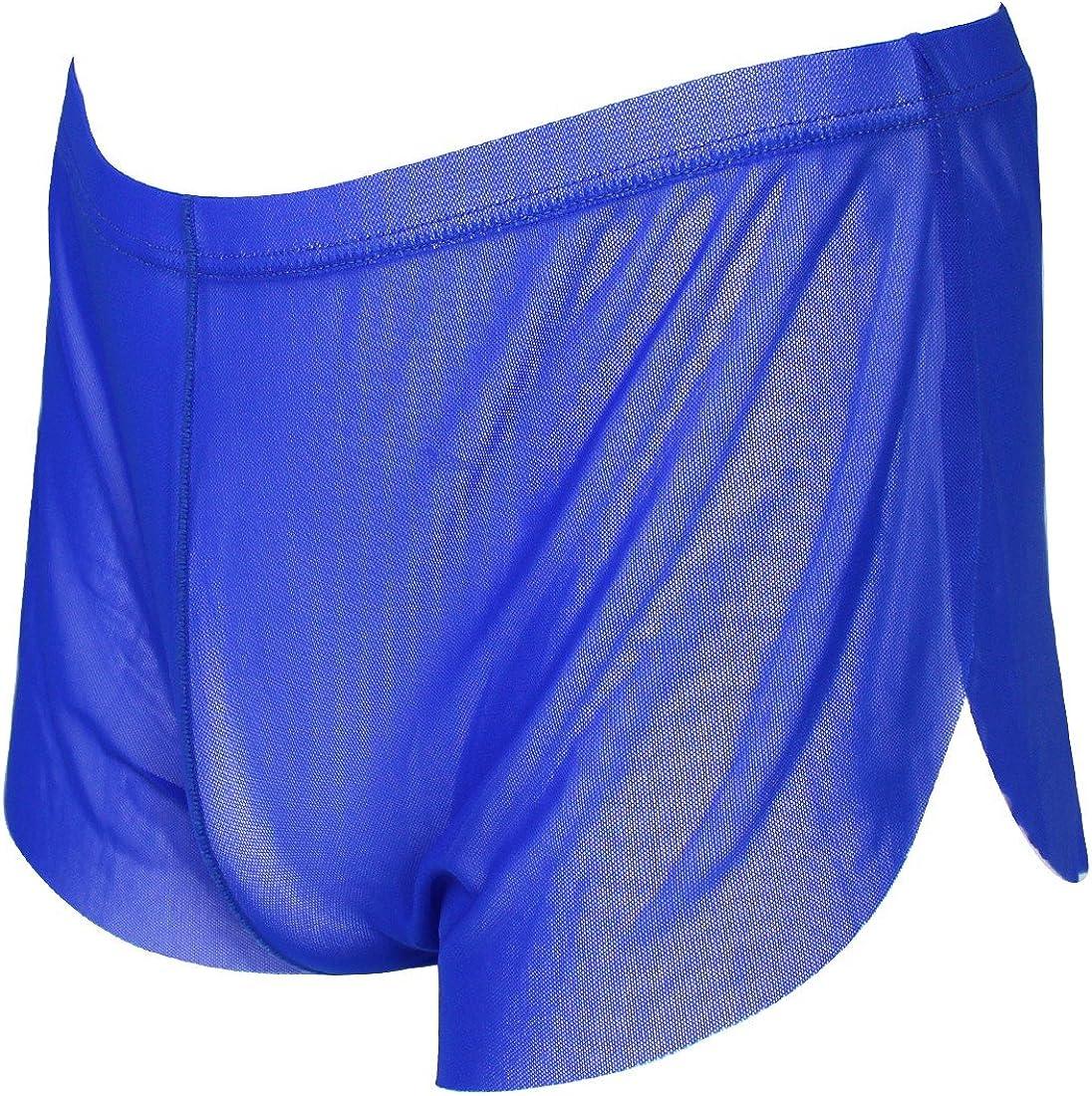 MSemis Men's Underwear Mesh Boxer Briefs Shorts Sheer Split Side Swim Trunks Swimwear