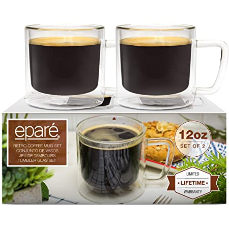 12 oz Retro Coffee Glass Mugs - Set of 2 - Clear Double Wall Glasses - Insulated Glassware - Large Espresso Latte Cappuccino or Tea Cup by Eparé