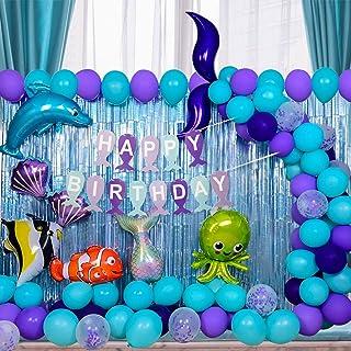 Mermaid Party Supplies Pack - Mermaid Balloon Garland Kit with Happy Birthday Banner Blue Curtain Backdrop Mermaid Tail Un...