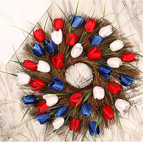 lowest Front Door Wreath Artificial online Tulip Flower Wreath Easter Spring Wreath Garland Handmade Floral Wreath Garland Valentines Day Decor lowest Wedding Party Office Home Christmas Hanging Decoration, 16In online sale