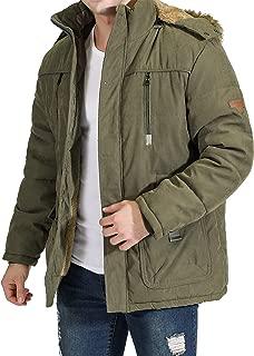 InnoBase メンズ モッズコート ダウンジャケット コート アウター ハーフ丈 フード付き 着脱可 ファー付き ゆったり 裏起毛 防寒 防風 厚手 冬服 カジュアル アウトドア