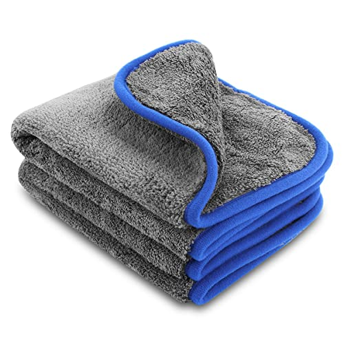 1,200gsm Microfibre Cleaning Towel / Cloth, Zoegate microfiber towel Lint-free Dual Layer Ultra-Thick Car Wash Buffing Wax Polishing and Drying Cloth Towel Auto Detailing Towels 40 x 45 cm