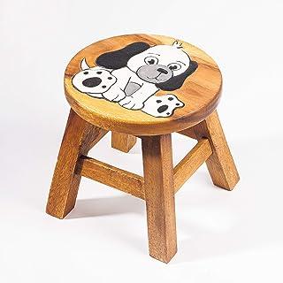 Taburete infantil, taburete infantil, silla infantil de madera maciza con diseño de perro, 25 cm de altura de asiento para nuestro grupo de niños