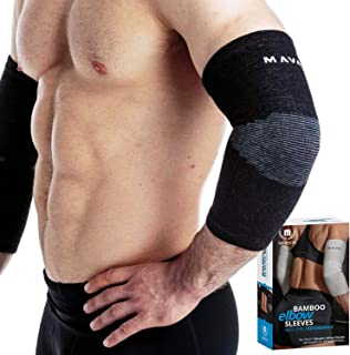 Mava Sports Elbow Sleeve Recovery Compression - Support for Workouts, Weightlifting, Arthritis, Tendonitis, Tennis and Golfer's Elbow - Bamboo Charcoal Athletic Elbow Compression Sleeves