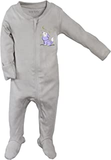 Organic Cotton Zippered Baby Footie with Gift Box - Wolf