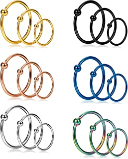 18Pcs 20G Stainless Steel Nose Ring Hoop Septum Ring Cartilage Helix Ear Piercing 6mm 8mm 10mm