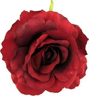 Full 4.5 Red Rose Silk Flower Brooch Pin