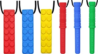 Chew Necklace by GNAWRISHING - 6-Pack - Perfect for Autistic, ADHD, SPD, Oral Motor Children, Kids, Boys, and Girls (Tough, Long-Lasting)