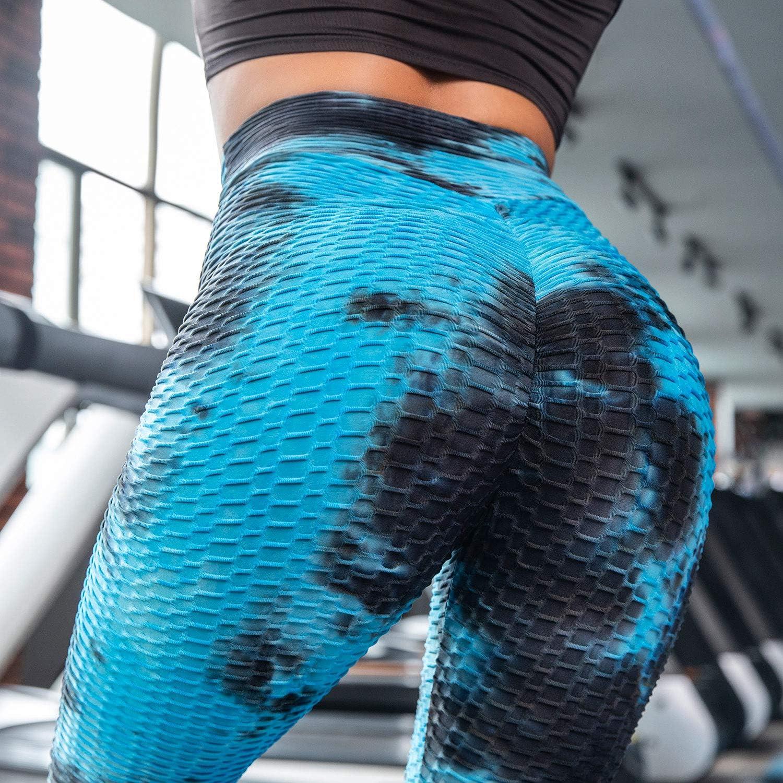 Voqeen Mujer Pantalones de Yoga con Efecto Tie Dye con Textura de Panal Leggings Fruncidos con Pliegues de Levantamiento de Gl/úteos de Cintura Alta Medias de Bot/ín Leggings Deportivos de Gimnasio