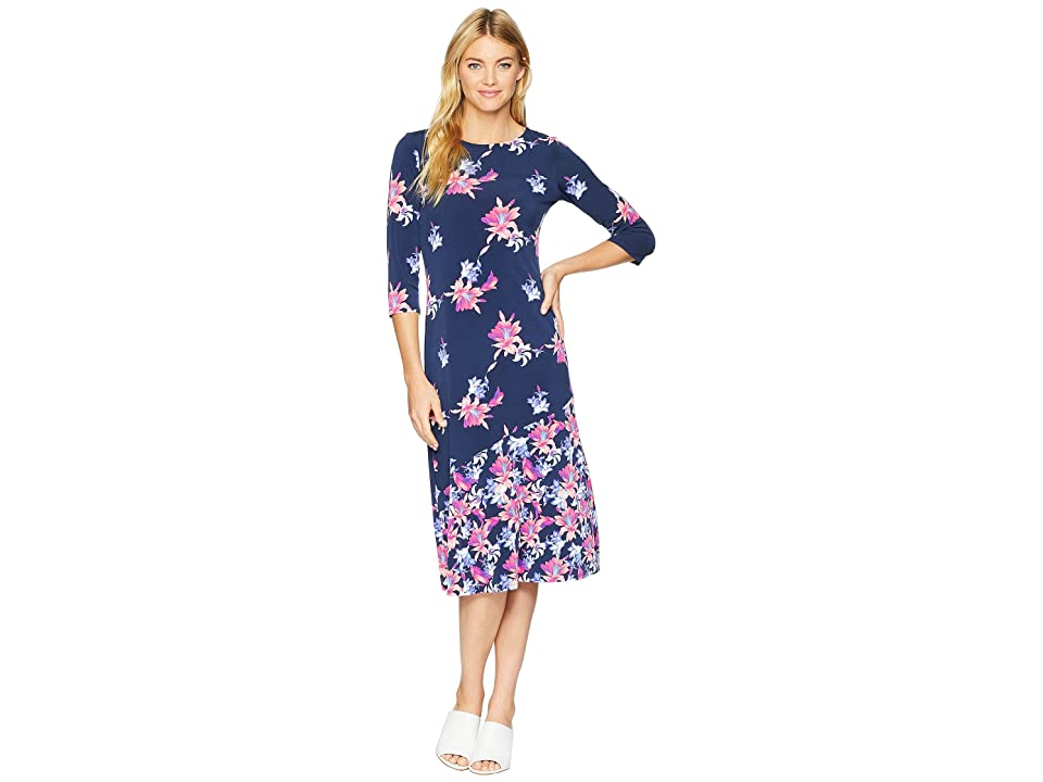 Tommy Bahama Costa Cactus 3/4 Sleeve Midi Dress (Ocean Deep) Women's Dress, Blue