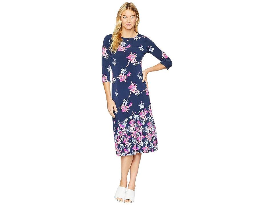 Tommy Bahama Costa Cactus 3/4 Sleeve Midi Dress (Ocean Deep) Women