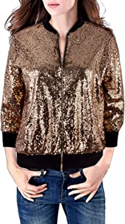 Womens 3/4 Sleeves Sequin Bomber Jacket Coat Front Zip Short Blazer Jacket with Ribbed Cuffs