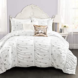 PB&J Distressed Metallic Heart Print Comforter White/Silver 3Pcs Set Full/Queen