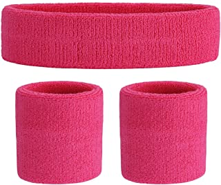 ONUPGO Sweatband Set Sports Headband Wristband Set Sweatbands Terry Cloth Wristband Wrist Sweatband Headbands Moisture Wic...