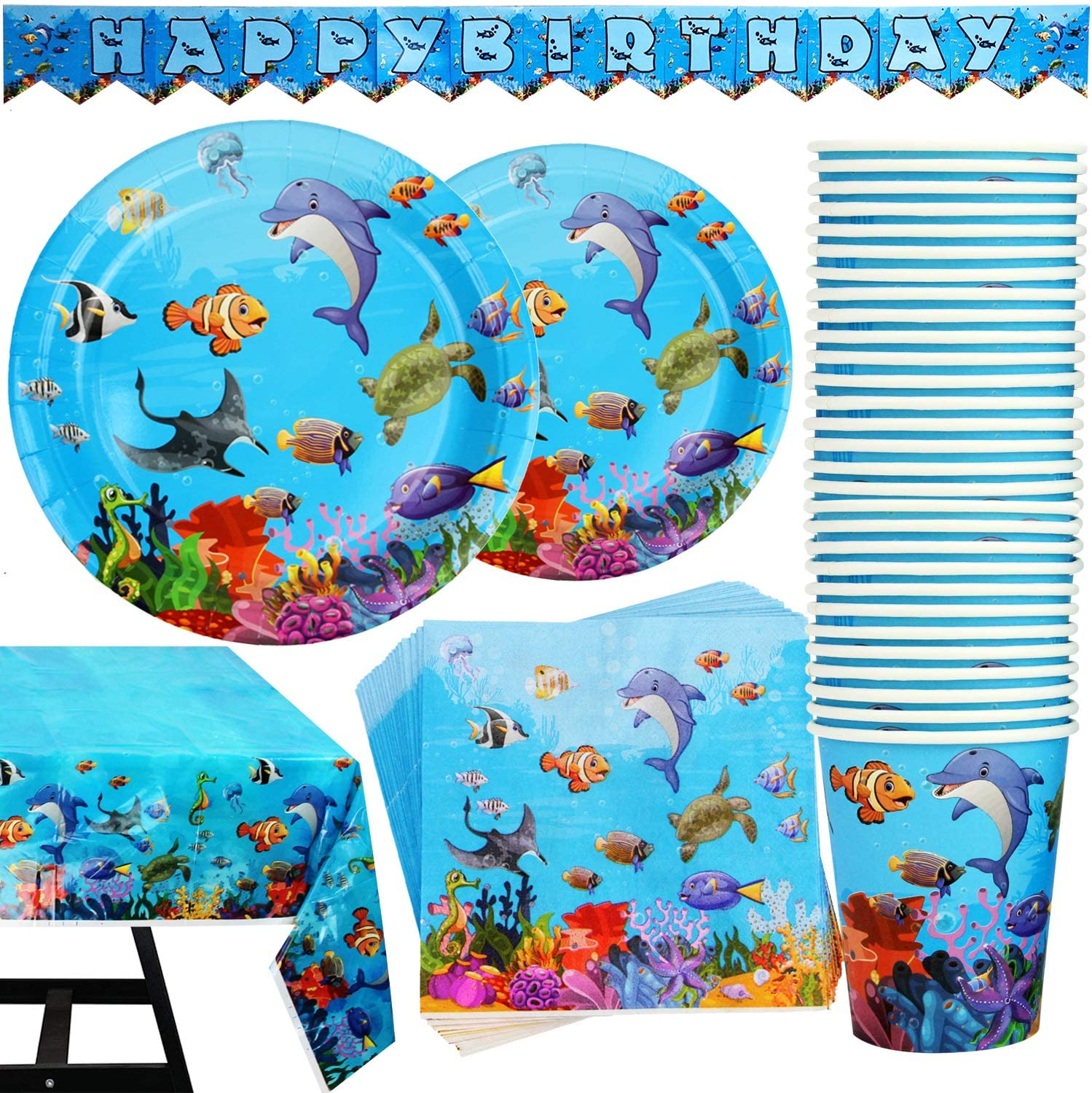Fixed price for sale 102 Piece Minneapolis Mall Under The Sea Party Set Supplies Pla Including Banner
