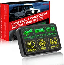 6 Gang Switch Panel, OFFROADTOWN Electronic Relay System with Circuit Control Box Waterproof Fuse Relay Box Wiring Harness Label Stickers for Car Truck Marine Boat ATV UTV