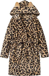 Teen Robe for Girls Cozy Classic Yellow Leopard Bathrobe Toddler Big Kid Size 5T