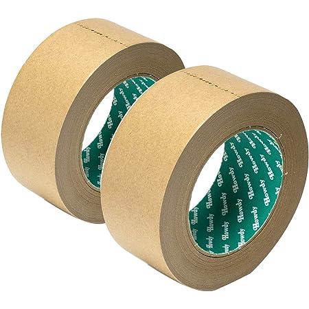 ストリックスデザイン クラフトテープ 日本製 2個セット 茶 50m巻 幅5cm 梱包用 手で切れる ガムテープ HD-337