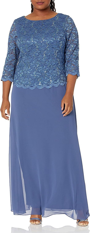 Alex Evenings Women's Plus-Size Long Dress with Scalloped Trim