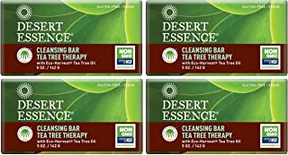 Desert Essence Tea Tree Therapy Cleansing Bar Soap - 5 Ounce - Pack of 4 - Therapeutic Skincare - All Skin Types - Jojoba ...