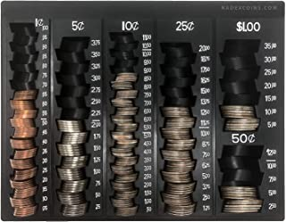 Nadex Coin Handling Tray | Bank Teller and Change Counter Coin Counting and Sorting Tray with 6 Compartments for U.S. Coins with Cover - 32 Coin Wrappers Included (Black)