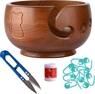 Wooden Extra Large Yarn Bowl 7 Inches. Circular Needles, Thick Cotton, Chunky Wool Baby Yarn Ball Holder Stand. Crocheting Accessories Crochet Hooks Craft Storage Project Kit. Adult Knitpicks