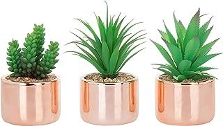 MyGift Set of 3 Desktop Faux Succulent Plants in Modern Rose Gold-Tone Ceramic Planters
