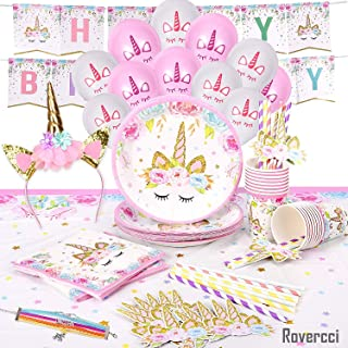 Unicorn Party Supplies Set & Tableware Kit | Birthday Decorations Bunting, Disposable Paper Plates, Cups, Napkins, Straws, Plastic Table Cloth, & Bonus Balloons, Bracelet, Head Band - Serves 16