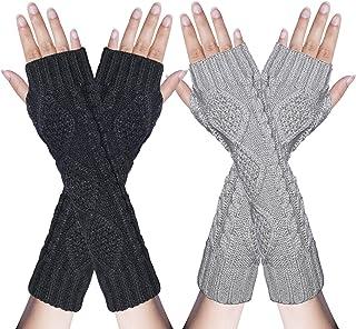 2/3 Pairs Womens Winter Knit Long Fingerless Gloves Thumbhole Arm Warmer Mitten