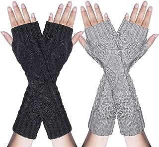 2/3 Pairs Womens Winter Knit Long Fingerless Gloves Thumbhole Arm Warmers Mitten