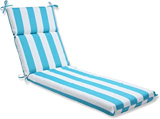 Pillow Perfect Outdoor Cabana Stripe Chaise Lounge Cushion, Turquoise