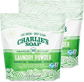Charlie's Soap Laundry Powder (300 Loads, 2 Pack) Hypoallergenic Deep Cleaning Washing Powder Detergent – Eco-Friendly, Sa...