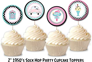 1950's Sock Hop Birthday Party Cupcake Toppers - Mix of 4 Designs, 1950's Sock Hop Birthday Party Supplies, 1950's Sock Hop Birthday Party Decorations